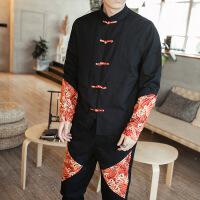 唐装男长袖衬衫中式立领复古衬衣秋季中国风男装青年盘扣潮流上衣 SWD-QT4018-C301桔红色