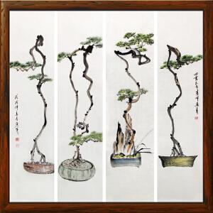 古松盆景四条屏《四季不老万年长青》于洪顺 实力画家【R2382】