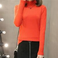 半高领毛衣女2018秋冬季女装短款宽松套头纯色针织衫长袖打底衫女