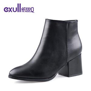 Exull依思Q简约大气粗跟高跟尖头短靴时尚潮流女靴