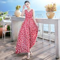 夏季新品女装碎花无袖雪纺长裙连衣裙波西米亚海边度假沙滩裙 图片色X635