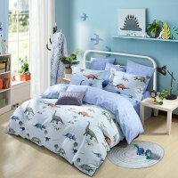 水星家纺全棉卡通印花儿童家用三/四件套 驯龙记床上用品