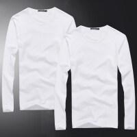 秋季男士长袖T恤男款纯色圆领韩版纯棉修身白色打底衫体恤秋衣男