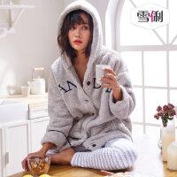 雪俐冬季加厚三层珊瑚绒夹棉女士睡衣韩版长款女人保暖棉袄冬套装