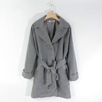 CA0867精品秋冬新款单粒纽扣有腰带显瘦好搭配女纯色毛呢外套