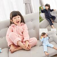 西西家 男女童家居服套装2017冬装新款 加厚法兰绒儿童保暖睡衣