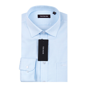 Youngor/雅戈尔男士商务正装秋季新品蓝色免烫长袖衬衫XP11254-23