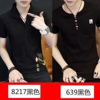 短袖男T恤夏季男士V领上衣体恤男装秋衣韩版中国风秋季潮流长袖男 +639黑色