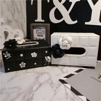 潮小香风山茶花纸巾盒欧式创意家用客厅餐巾纸盒 皮质车用抽纸盒