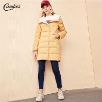 【满300减30】面包羽绒服女拉夏贝尔冬季新款韩版修身鸭绒拉链中款外套