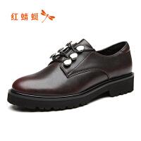 红蜻蜓 新款英伦风小皮鞋女系带深口平跟休闲单鞋