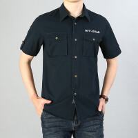 短袖衬衫男工装纯棉水洗休闲宽松大码透气衬衣青中年外穿上衣潮19001短袖衬衫