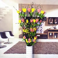 假花仿真花客厅落地叶脉干花花束摆件插花摆设居家室内新房装饰花 乳白色 黄+咖啡/含瓶