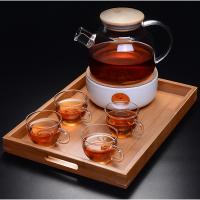 欧式田园水果茶玻璃下午茶茶具陶瓷蜡烛加热底座煮花茶壶茶杯套装 1000ML壶+底座+四小把杯子+ 送十个蜡烛