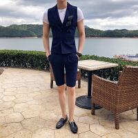 英伦风男士韩版修身无袖西装外套男装个性夏天短西裤套装两件套潮