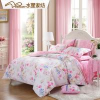 水星家纺四件套全棉花卉图案纯棉床上用品