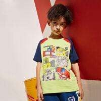 【2件3折到手价:44.7元】小虎宝儿男童短袖t恤运动休闲薄款2020夏季新款儿童纯棉童装上衣