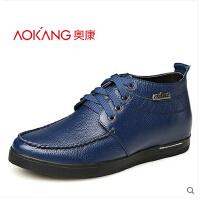 奥康新款男士隐形内增高高帮鞋韩版板鞋系带休闲男鞋单鞋