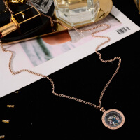 时尚秋冬毛衣链长款项链女 百搭圆形彩钻衣服挂件钛钢配饰品 玫瑰金色