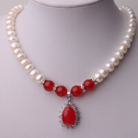 天然淡水珍珠项链 女 红绿玛瑙吊坠项链送妈妈 9-10MM