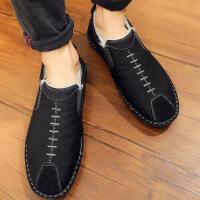 布鞋男韩版潮流休闲板鞋男士冬季棉鞋加绒鞋子男 保暖帆布鞋