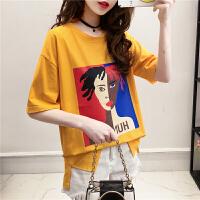 夏装短袖t恤女2018韩版圆领印花打底衫美的半袖上衣学生