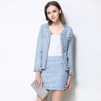 冬装新款女装时尚小香风两件套外套包臀裙子套装名媛钉珠大码