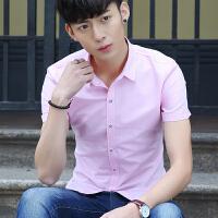 短袖衬衫男修身韩版纯色薄款青少年夏季休闲百搭学生半袖衬衣