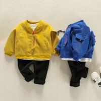 宝宝套装春装外出服春秋新生儿春季开衫外套男潮0-1岁婴儿三件套