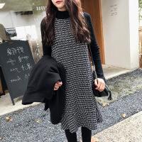 2018秋冬季新款女小香风毛衣背心裙子两件套装时尚鱼尾毛呢连衣裙