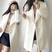 2017秋冬季新款韩国羊毛呢外套中长款加厚宽松白色显瘦呢子大衣女
