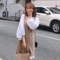 秋装女装韩版宽松百搭长袖灯笼袖连衣裙+中长款针织背心马甲学生
