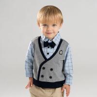 戴维贝拉春季新款男童假两件衬衫 宝宝休闲衬衣DB9966