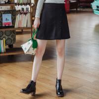 海贝2017年冬季新款女装半身裙 高腰纽扣装饰黑色显瘦A字毛呢短裙