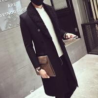 青年韩版修身中长毛呢大衣帅气外套潮秋冬季长款男士过膝毛领风衣