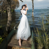现货海边度假沙滩裙高腰五分袖蕾丝连衣裙白色仙女长裙伴娘裙礼服 白色(现货)
