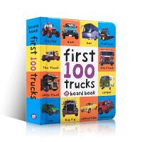 英文原版 First 100 Trucks 精装纸板书 0-1-2-3岁儿童启蒙 宝宝图片认知书 交通工具 儿童绘本