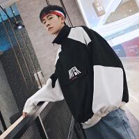 新品2018春季新款青少年拼色款立领夹克宽松版型男士休闲外套潮男