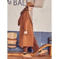 拉夏贝尔森系毛呢外套女秋冬新款韩版中长款学生斗篷双面呢子大衣冬装