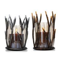 铁艺玻璃蜡烛台灯罩古复婚庆摆饰品