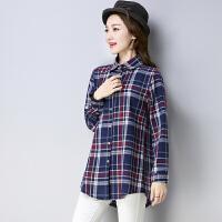 中长款韩版格子衬衣女宽松长袖衬衫2018春装新款时尚休闲百搭上衣
