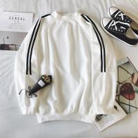 新品秋冬季港风学生卫衣男套头圆领宽松型韩版潮流加绒条纹长袖T恤上衣上新 白色 M