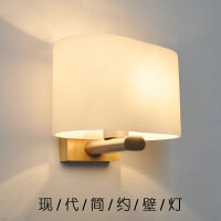 【满199-100】卧室床头灯 玻璃实木壁灯创意木灯 木艺楼梯 玄关过道灯 卧室床头灯 玻璃实木壁灯YX-LMD-2113
