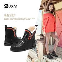 【低价秒杀】jm快乐玛丽冬季新款平底加绒短筒纯羊毛保暖女雪地靴子