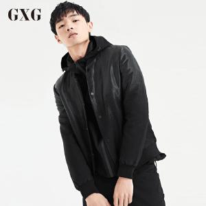 GXG夹克男装 秋季青年潮流时尚修身休闲黑色夹克男青年外套薄款