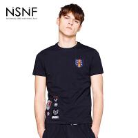 NSNF徽章修身黑色短袖t恤男款 2017男装夏季新品 圆领针织潮款