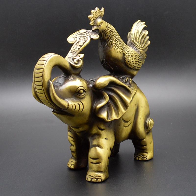 商务居家风水工艺品摆件礼品铜黄铜吉祥摆件 铜大象鸡摆件