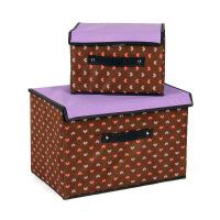 卡秀大小拼色衣物收纳箱两件套扣扣收纳箱大小两件套带盖收纳箱 加厚衣物收纳 整理箱收纳盒-紫色爱心