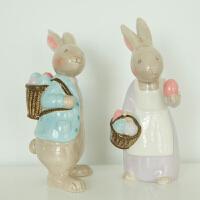 家居饰品结婚礼物 创意工艺礼品陶瓷摆件结婚生日礼物 兔子摆件