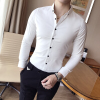 小码男士秋装寸衫S码纯色XS码贴身衬衫韩版修身白衬衣工装长袖潮